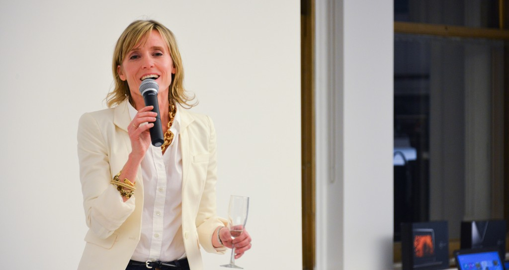 Carley Roney speaking at at Dell Women's Entrepreneur Network Dinner Event